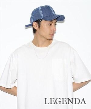 定価5,940円【新品】LEGENDA ダメージデニムキャップ Blueブルー