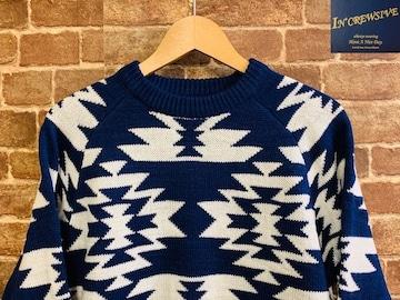 表記XL/新品!オルテガ柄 ネイティブ系 ローゲージ 青 ニット セーター サーフスタイル