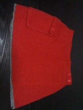 美品 OZONE COMMUNITYニット巻きスカート(F)赤×グレー裾ライン