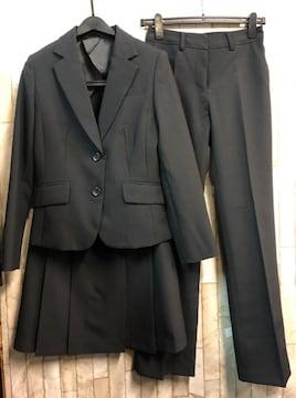 新品☆9号スーツ3点setスカート・パンツお仕事に黒股下77☆n938