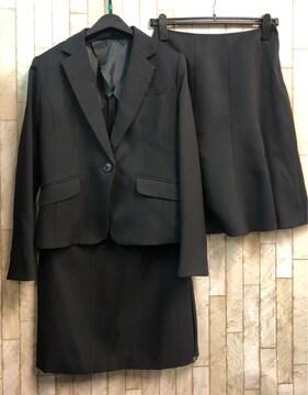 新品☆9号♪黒無地スカート2種付スーツ♪お仕事にも♪55丈☆n898