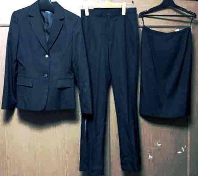 新品 11AR67 リクルート 3点スーツ☆オフィススーツ3点セット黒  < 女性ファッションの
