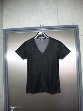 美品〓トルネードマート〓細身Vネック半袖カットソー〓黒