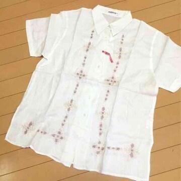 リネン麻100刺繍柄が綺麗な半袖ブラウス◆オーバーブラウスLL〜