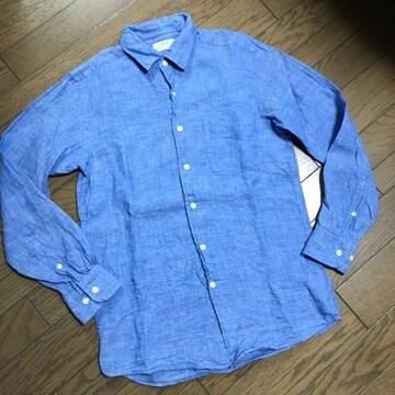 美品UNIQLO 霜降りリネンシャツ ユニクロ
