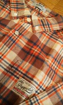新品Pappパプ茶系チェックシャツ120