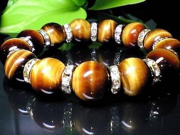 タイガーアイ虎目石14ミリ金色ロンデル人気数珠