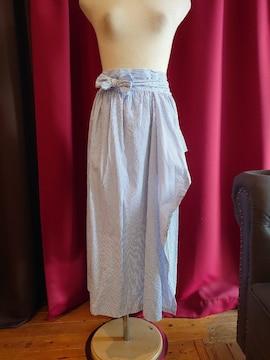 U072 美品 antiqua ラップスカート ロング ブルーストライプ