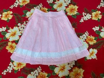 レストローズ☆可愛い爽やかピンクストライプスカート☆