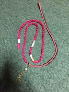 変わり帯締め 絹100% ピンク系 アクセサリー付き キュート