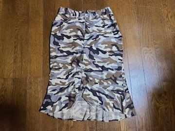 送料無料/迷彩柄裾フリルミニスカート