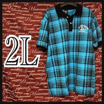 2L・ワンポイント刺繍.チェックポロ 新品青/MCK26-004s