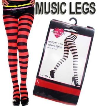 AA4)MUSICLEGSワイドボーダータイツ赤レッド黒ダンサーB系ダンス衣装コスチューム
