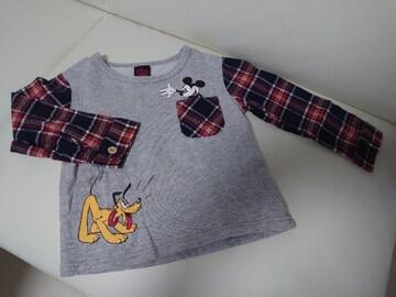 ★BABY DOLL★袖部分がネルシャツの薄手トレーナー★美品100