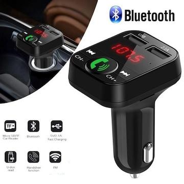 Bluetooth FMトランスミッター 電話 二台充電 ブラック
