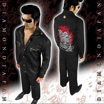 上着単品/和柄不動明王刺繍作業着■オラオラ系ヤクザヤンキーメンズ服72黒-L