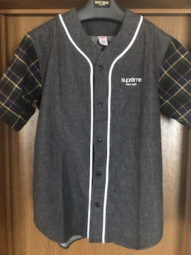 ★新品同様★ Supreme Denim Flannel Baseball Shirt (S)
