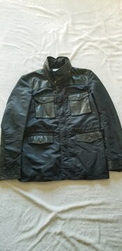 ★abxお洒落黒ブラック長袖フード本革レザーナイロンジャケット