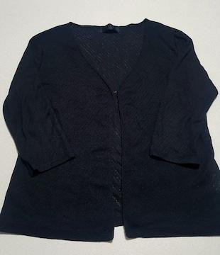 黒★薄手の七分丈袖カーデ★Lサイズ