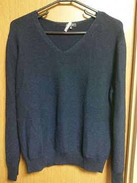INDIVI昨季美品ネイビーラメウール混Vネックニットセーター大きいサイズ4413号15号