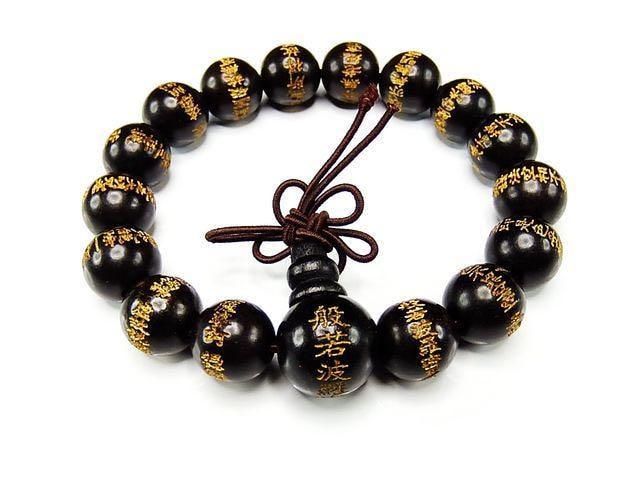 石街般若心経数珠ブレスレット木製黒檀木精工金彫り12mm念珠 < 男性アクセサリー/時計の