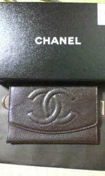 即決☆確実本物*CHANEL/シャネル*キャビアスキン中財布 チョコレート