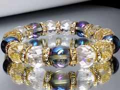 ゴージャス青ブルーオーラ&64面カット水晶12ミリ金色ゴ-ルドロンデル