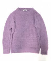 フワフワシャギーフェザーニットセーター暗薄紫パープル(L)新品
