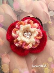 ハンドメイド♪毛糸編み アネモネ風お花のヘアゴム 1