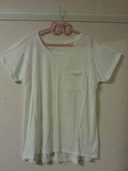 ポケット付半袖チュニック*LL*ホワイト*新品