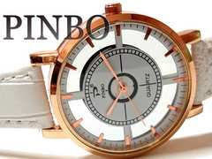 【新品・未使用】PINBO スケルトン仕様 お洒落な男女OK 腕時計