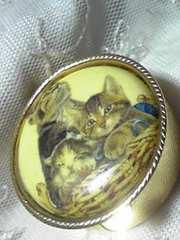 3匹の可愛い猫ちゃんの絵柄が付いた小物入れ(薬等)