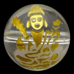 水晶 12mm (金彫り) 八大観音「普賢菩薩」