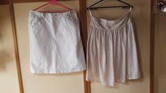 大きいサイズ ホワイト系スカート2枚セット