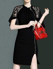 レースケープ サイドジッパー付きドレス(L寸・黒)