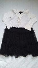 女児ブラックワンピドレスとカーデガン140