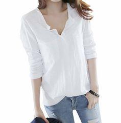 Vネック カットソー スキッパーシャツ (白、XL寸)