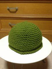 古着レトロ 編み込み ウール毛 ニット帽子 カーキ緑色 Sサイズ小さめ ハンドメイド