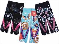 女性和柄靴下足袋ソックス3足セット草履柄雪結晶兎・舞子蝶・枝桜クルー丈