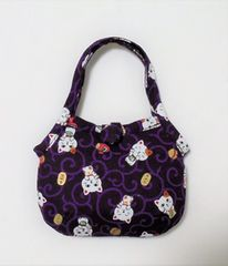 ◆招き猫・小判・小槌×紫唐草◆グラニー型ポーチ
