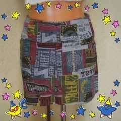 HYS好きな方に☆カラフルなデニム地ラップ風ミニスカート