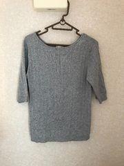 GU 美品 ワイドリブボートネックセーター5分袖 グレー XL