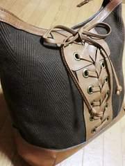サザビー/SAZABY 革製編み上げ肩掛けショルダーバッグ