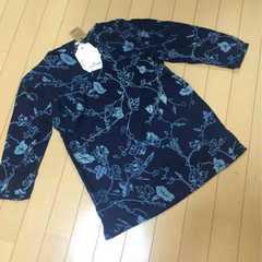 新品◆藍インディゴ染◆七分染シャツ◆Mチュニック