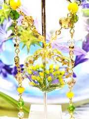 本物のお花*イエローモリソニアの花束ネックレス65�p