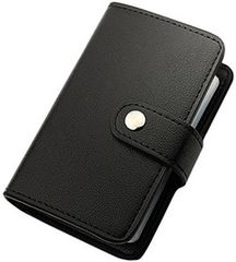 カードケース 革 レザー 薄型 磁気防止 ブラック【20枚収納】