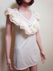 新品タグ付…襟元フリ�Aビジュ盛り�Aワンピドレス☆3点で即落
