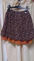 RETRO GIRL 花柄と無地のリバーシブルスカート オレンジ ハロウインカラー