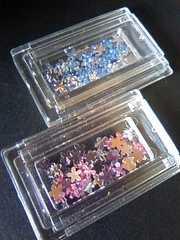 ネイルパーツお花型ストーン青 ピンク クリア3カラーset70個以上