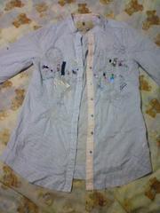 今期新作 Desigualインポート ストライプ ロングシャツ水色×白 刺繍ビーズ新品